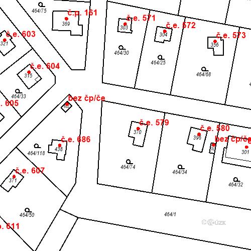 Katastrální mapa Stavební objekt Třebotov 579, Třebotov