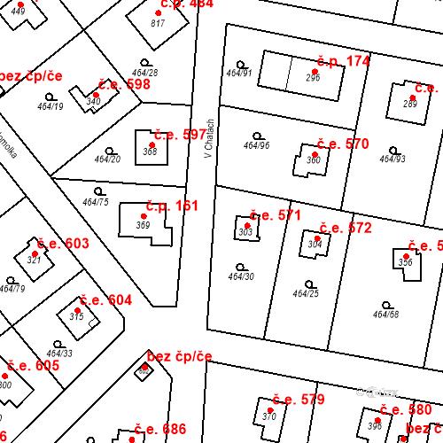 Katastrální mapa Stavební objekt Třebotov 571, Třebotov