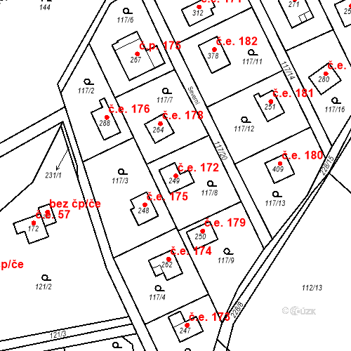 Katastrální mapa Stavební objekt Řitka 172, Řitka