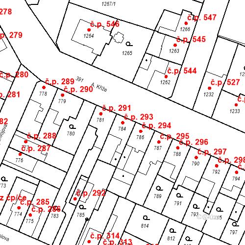 Katastrální mapa Stavební objekt České Budějovice 5 293, České Budějovice