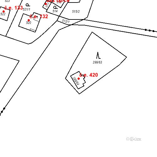 Katastrální mapa Stavební objekt Černolice 420, Černolice