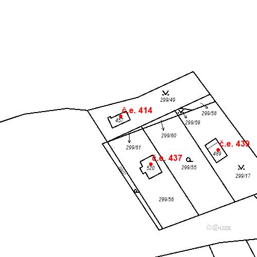 Katastrální mapa Stavební objekt Černolice 414, Černolice