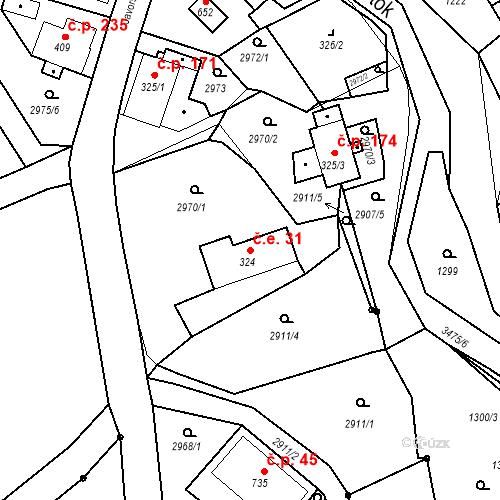 Katastrální mapa Stavební objekt Jílové 31, Jílové