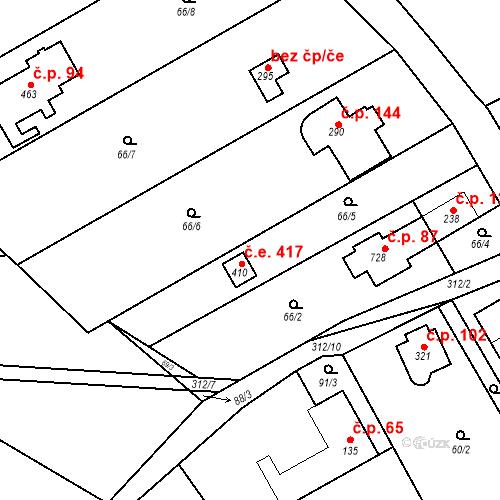 Katastrální mapa Stavební objekt Černolice 417, Černolice