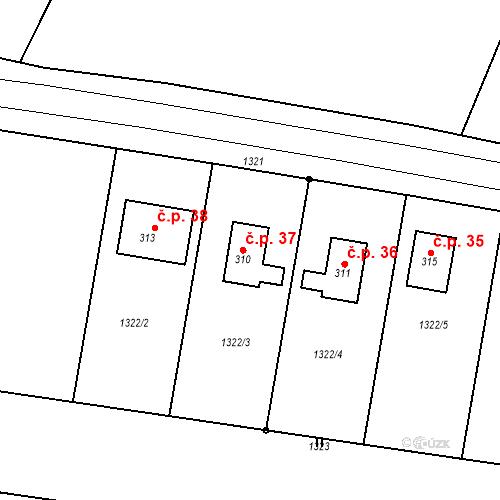 Katastrální mapa Stavební objekt Mokrsko 37, Chotilsko