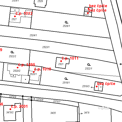 Katastrální mapa Stavební objekt České Budějovice 6 1011, České Budějovice