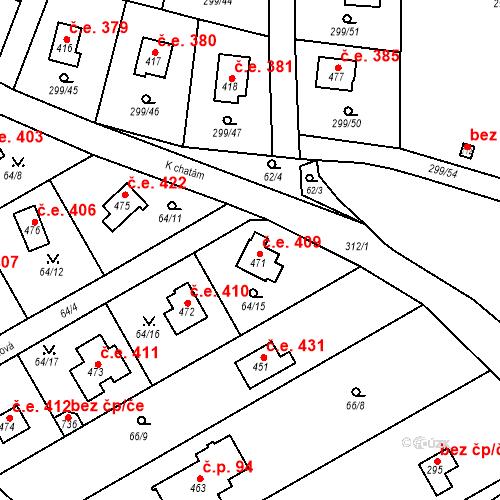 Katastrální mapa Stavební objekt Černolice 409, Černolice