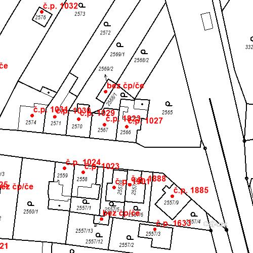 Katastrální mapa Stavební objekt České Budějovice 6 1027, České Budějovice