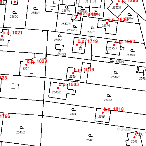 Katastrální mapa Stavební objekt České Budějovice 6 1019, České Budějovice