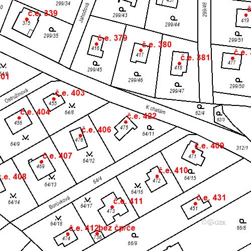 Katastrální mapa Stavební objekt Černolice 422, Černolice