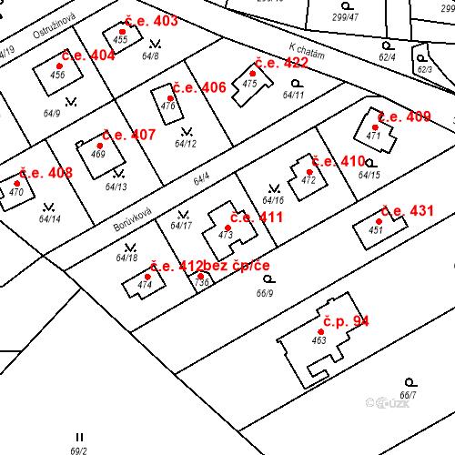 Katastrální mapa Stavební objekt Černolice 411, Černolice