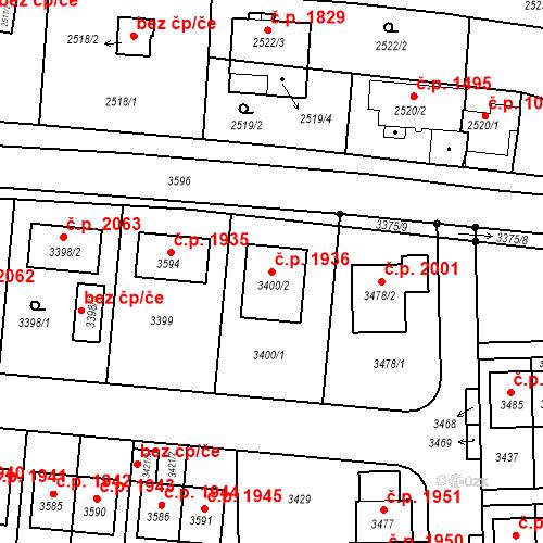 Katastrální mapa Stavební objekt České Budějovice 6 1936, České Budějovice