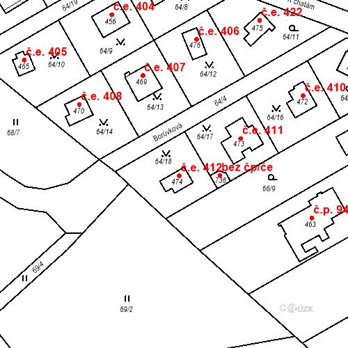 Katastrální mapa Stavební objekt Černolice 412, Černolice
