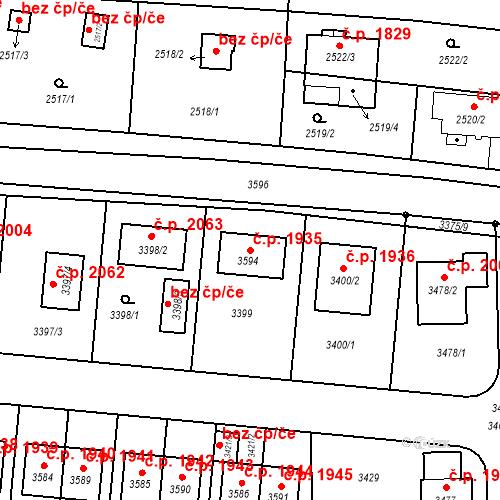 Katastrální mapa Stavební objekt České Budějovice 6 1935, České Budějovice