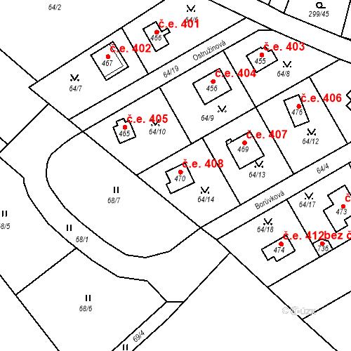Katastrální mapa Stavební objekt Černolice 408, Černolice