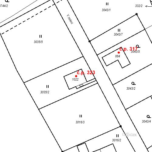 Katastrální mapa Stavební objekt Jílové 323, Jílové