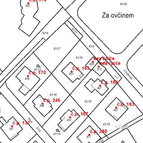Katastrální mapa Stavební objekt Řitka 163, Řitka