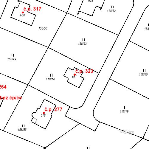Katastrální mapa Stavební objekt Řitka 323, Řitka