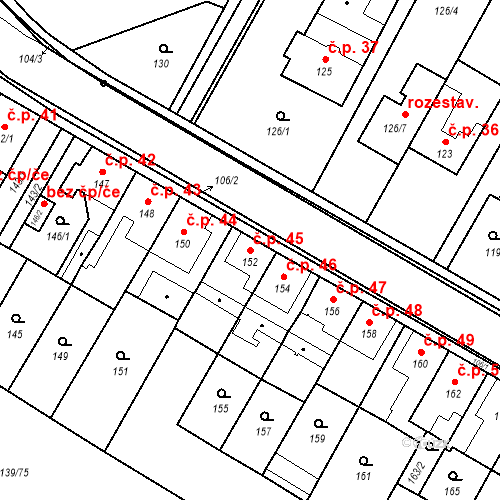 Katastrální mapa Stavební objekt České Budějovice 3 45, České Budějovice
