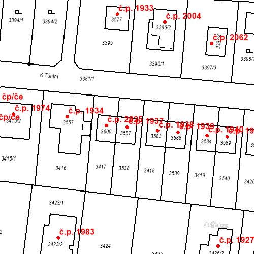 Katastrální mapa Stavební objekt České Budějovice 6 1937, České Budějovice