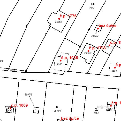 Katastrální mapa Stavební objekt České Budějovice 6 1035, České Budějovice
