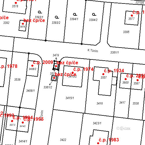 Katastrální mapa Stavební objekt České Budějovice 6 1974, České Budějovice