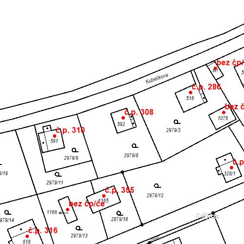 Katastrální mapa Stavební objekt Jílové 308, Jílové