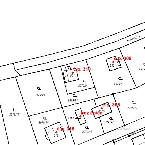 Katastrální mapa Stavební objekt Jílové 310, Jílové