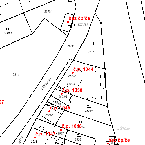 Katastrální mapa Stavební objekt České Budějovice 6 1044, České Budějovice