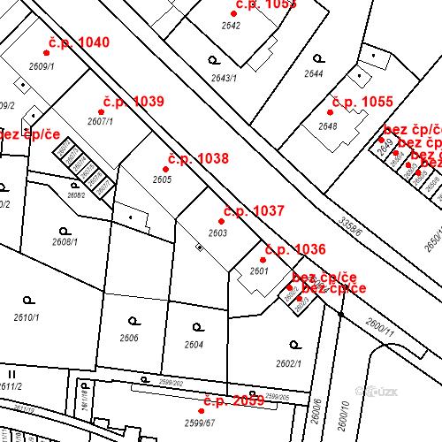 Katastrální mapa Stavební objekt České Budějovice 6 1037, České Budějovice