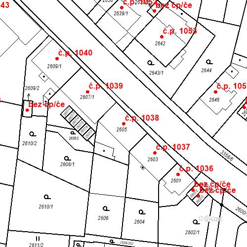 Katastrální mapa Stavební objekt České Budějovice 6 1038, České Budějovice