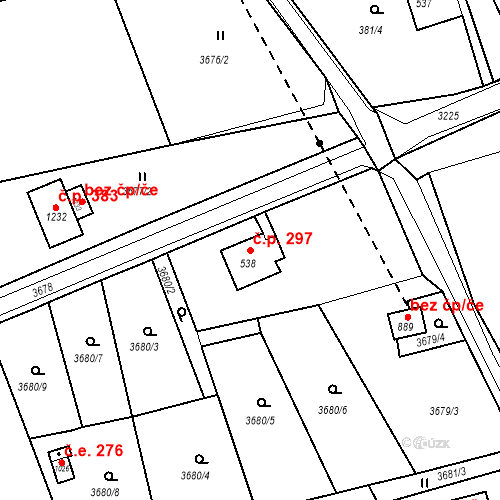Katastrální mapa Stavební objekt Jílové 297, Jílové
