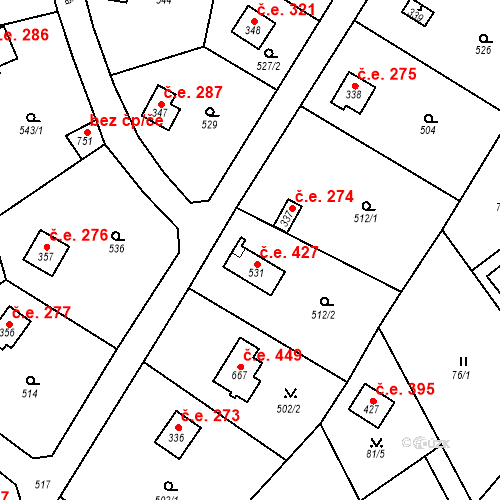 Katastrální mapa Stavební objekt Černolice 427, Černolice