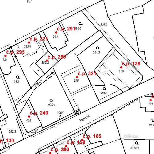 Katastrální mapa Stavební objekt Jílové 321, Jílové
