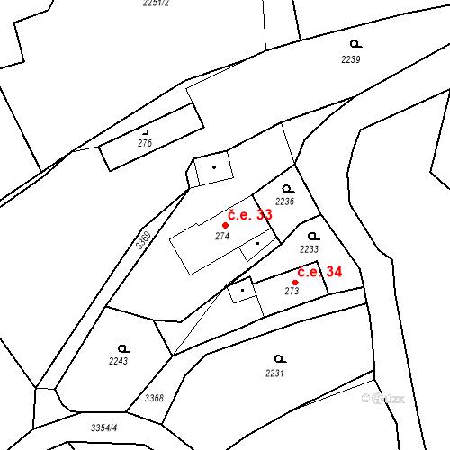 Katastrální mapa Stavební objekt Jílové 33, Jílové