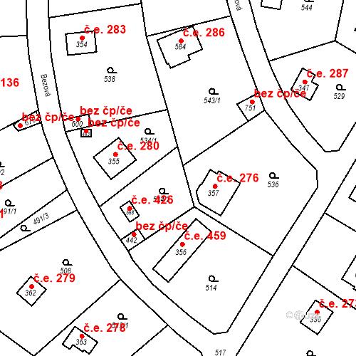 Katastrální mapa Stavební objekt Černolice 426, Černolice