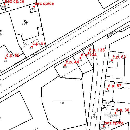 Katastrální mapa Stavební objekt Chrášťany 44, Chrášťany