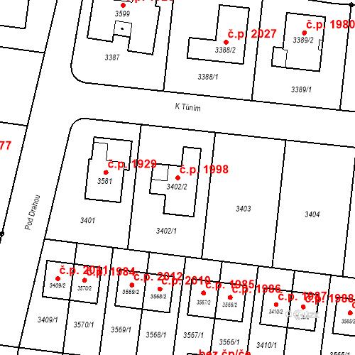 Katastrální mapa Stavební objekt České Budějovice 6 1998, České Budějovice