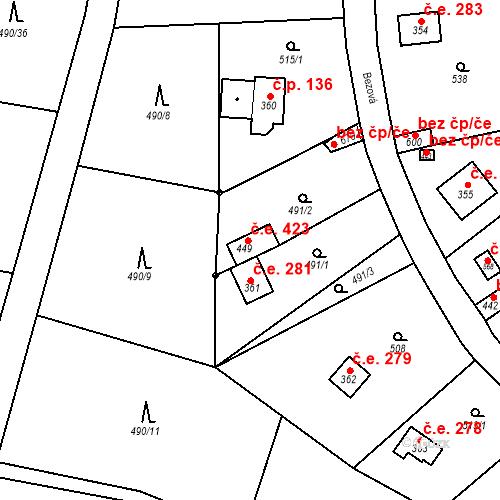 Katastrální mapa Stavební objekt Černolice 423, Černolice