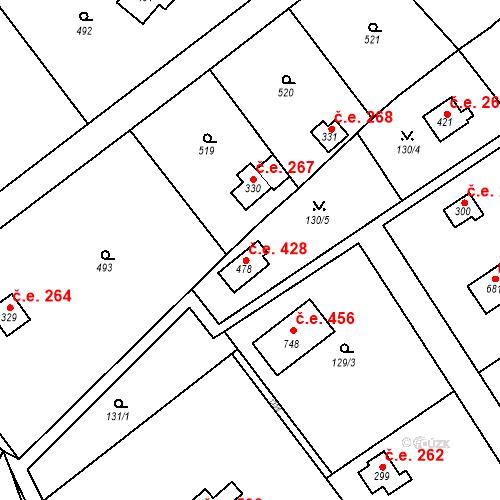 Katastrální mapa Stavební objekt Černolice 428, Černolice