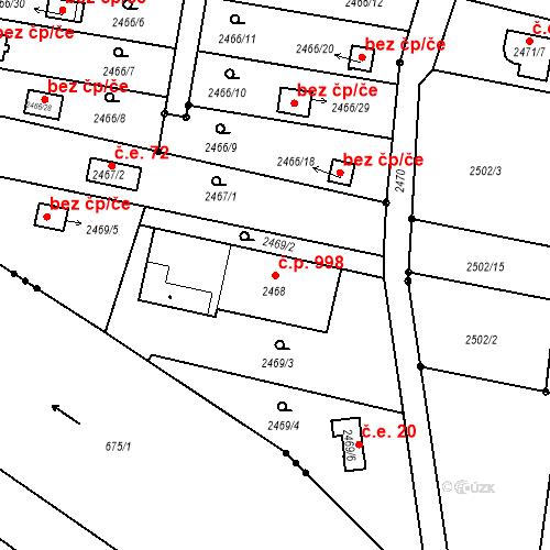 Katastrální mapa Stavební objekt České Budějovice 6 998, České Budějovice