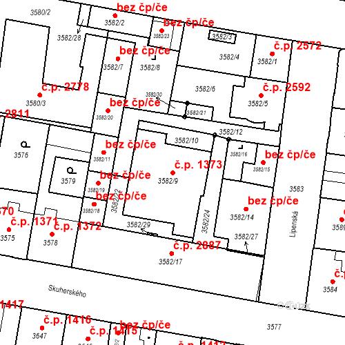 Katastrální mapa Stavební objekt České Budějovice 3 1373, České Budějovice