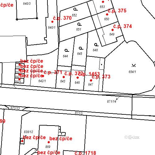 Katastrální mapa Stavební objekt České Budějovice 6 1453, České Budějovice