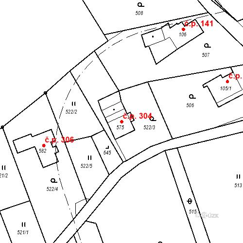 Katastrální mapa Stavební objekt Jílové 304, Jílové