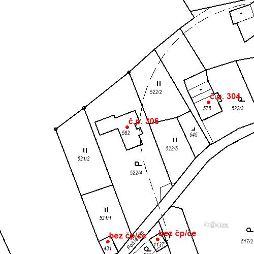 Katastrální mapa Stavební objekt Jílové 306, Jílové