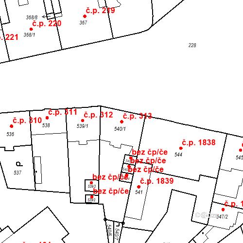 Katastrální mapa Stavební objekt České Budějovice 6 313, České Budějovice