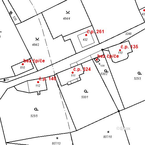 Katastrální mapa Stavební objekt Jílové 324, Jílové