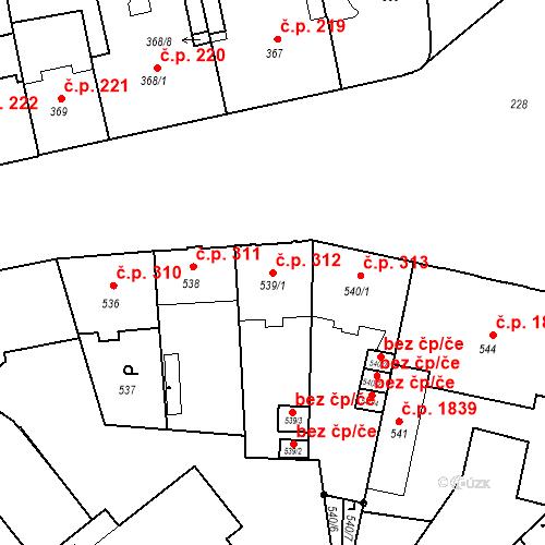 Katastrální mapa Stavební objekt České Budějovice 6 312, České Budějovice