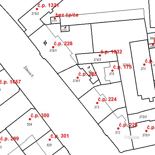 Katastrální mapa Stavební objekt České Budějovice 6 225, České Budějovice