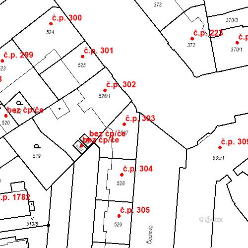 Katastrální mapa Stavební objekt České Budějovice 6 303, České Budějovice
